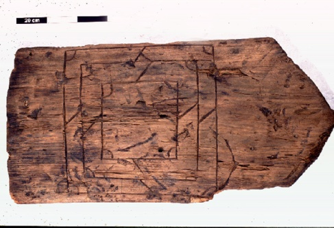 Two incised wood gaming boards, from c.1300 Novgorod and c.1540s England