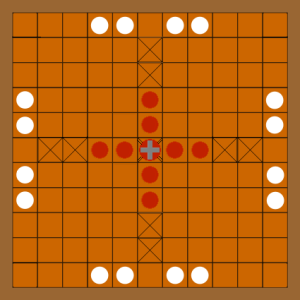 Graphic illustration of possible initial set up of hnefatafl on the Trondheim board.
