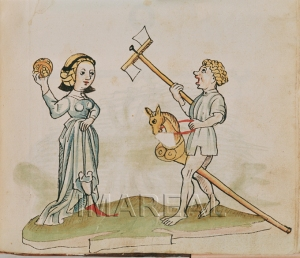 Children playing with a ball, a hobby horse and a scopperel, from a book of heraldry (c. 1484-1486) ÖNB 12820, fol. 182r