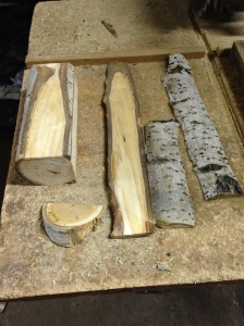 Since I do not have a bandsaw, I used my radial arm saw to rip an aspen log into two thick planks for carving.